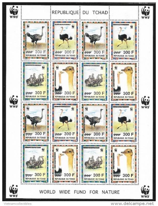 (WWF-202) W.W.F. Chad North African Ostrich MNH Perf Sheetlet 1996 - W.W.F.