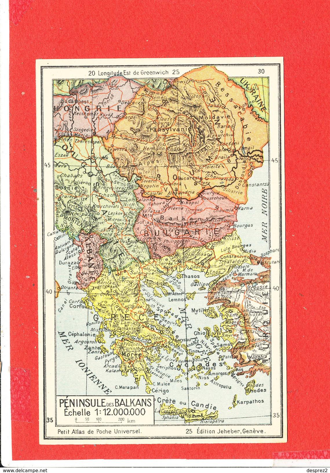 PENINSULE DES BALKANS Cpa Carte Géographique     Edit Jeheber - Maps