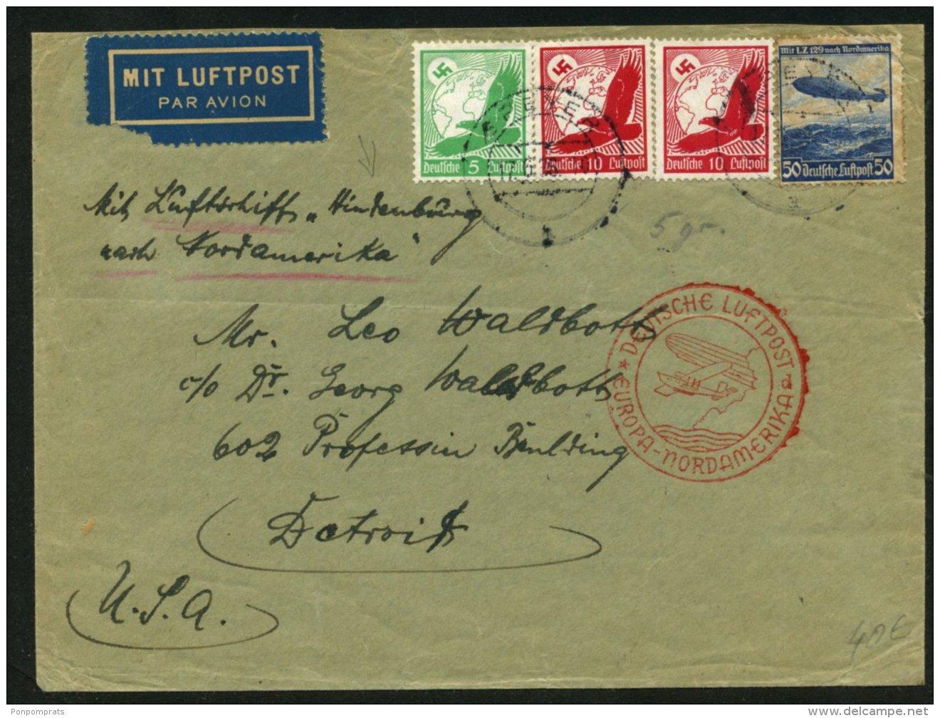 Pli Par Zeppelin LZ 129 > NORTAMERIKA FAHRT Afrt à 4 Timbres Oblt SPEYER > DETROIT - Luftpost