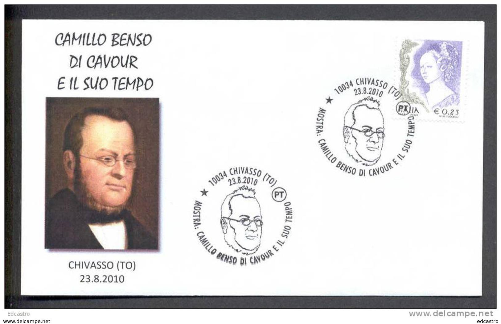 ITALY ITALIE 2010. SPECIAL POSTMARK. CAMILO BENSO DI CAVOUR. Prime Minister Of The Kingdom Of Piedmont-Sardinia, - Beroemde Personen