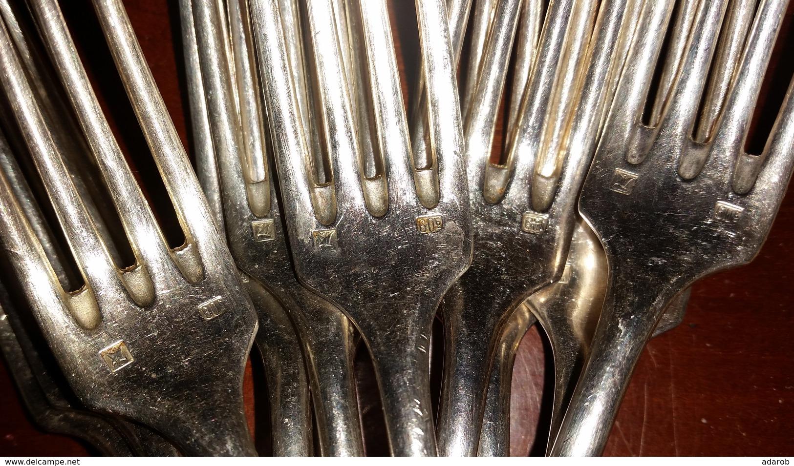 FOURCHETTES-MENAGERE-12-PIECES-L-18-cm-RENAUD-CCLERMONT-2-POINCONS - Couteaux