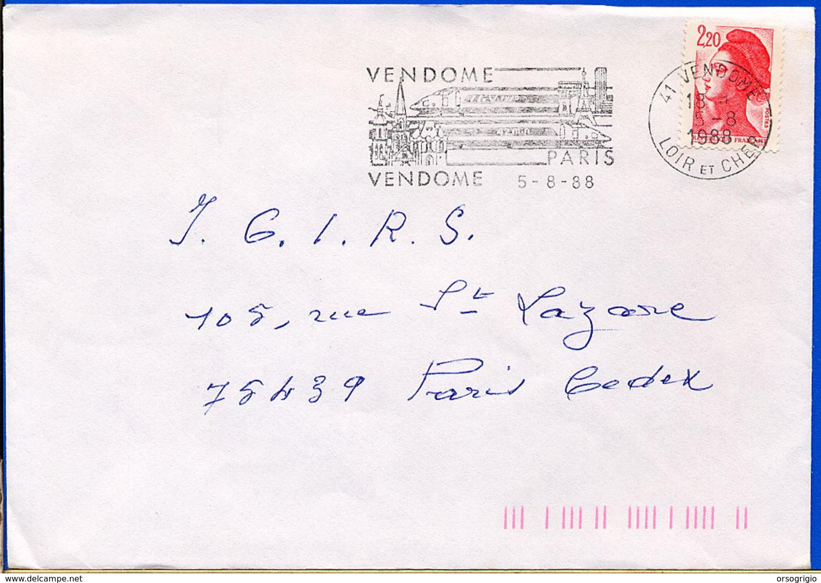 FRANCE - Flamme -   VENDOME - TGV -  TOUR EIFFEL - Monuments