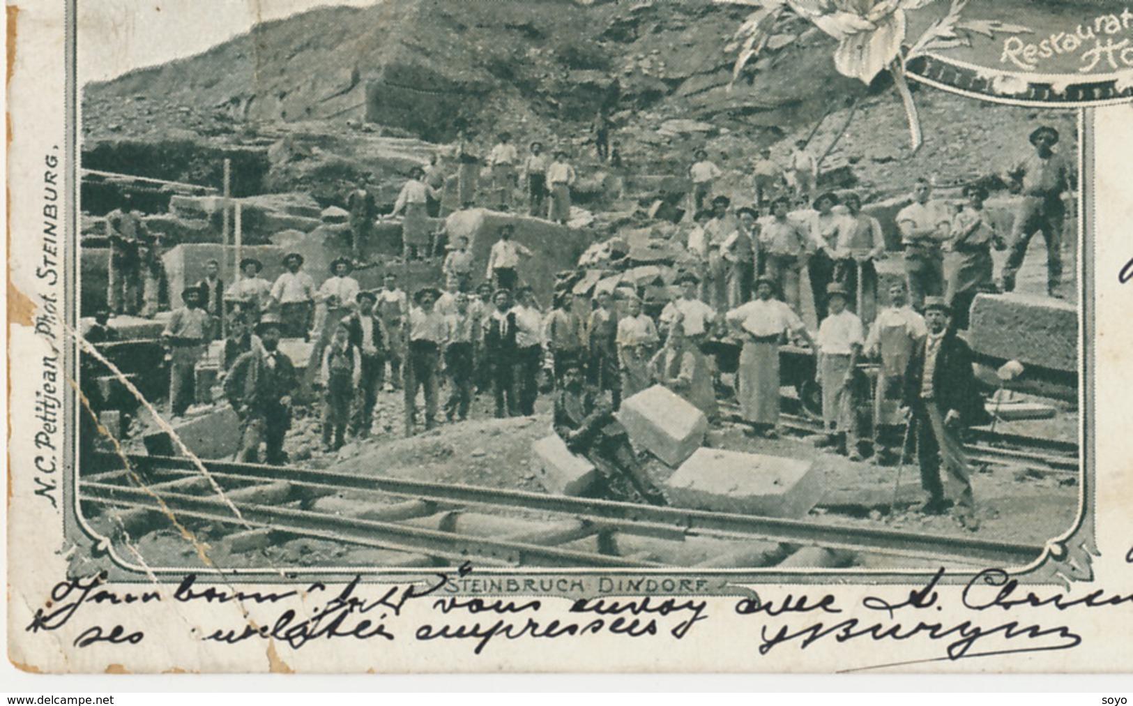 Carriere Pierre à Tieffenbach Saverne Gare Restaurant Hoffmann Timbrée 1899Wingen Vers Vallerysthal Dreibrunnen - Mines