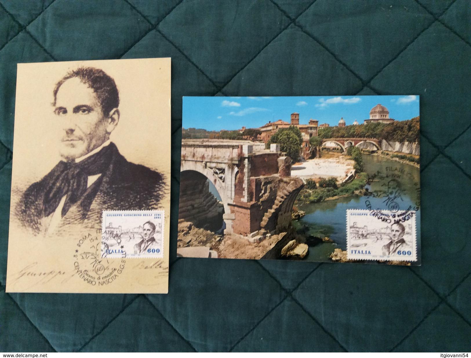 Coppia Di Cartoline Maximum 2° Centenario Nascita Giuseppe Gioachino Belli 15-4-1991 - Cartas Máxima