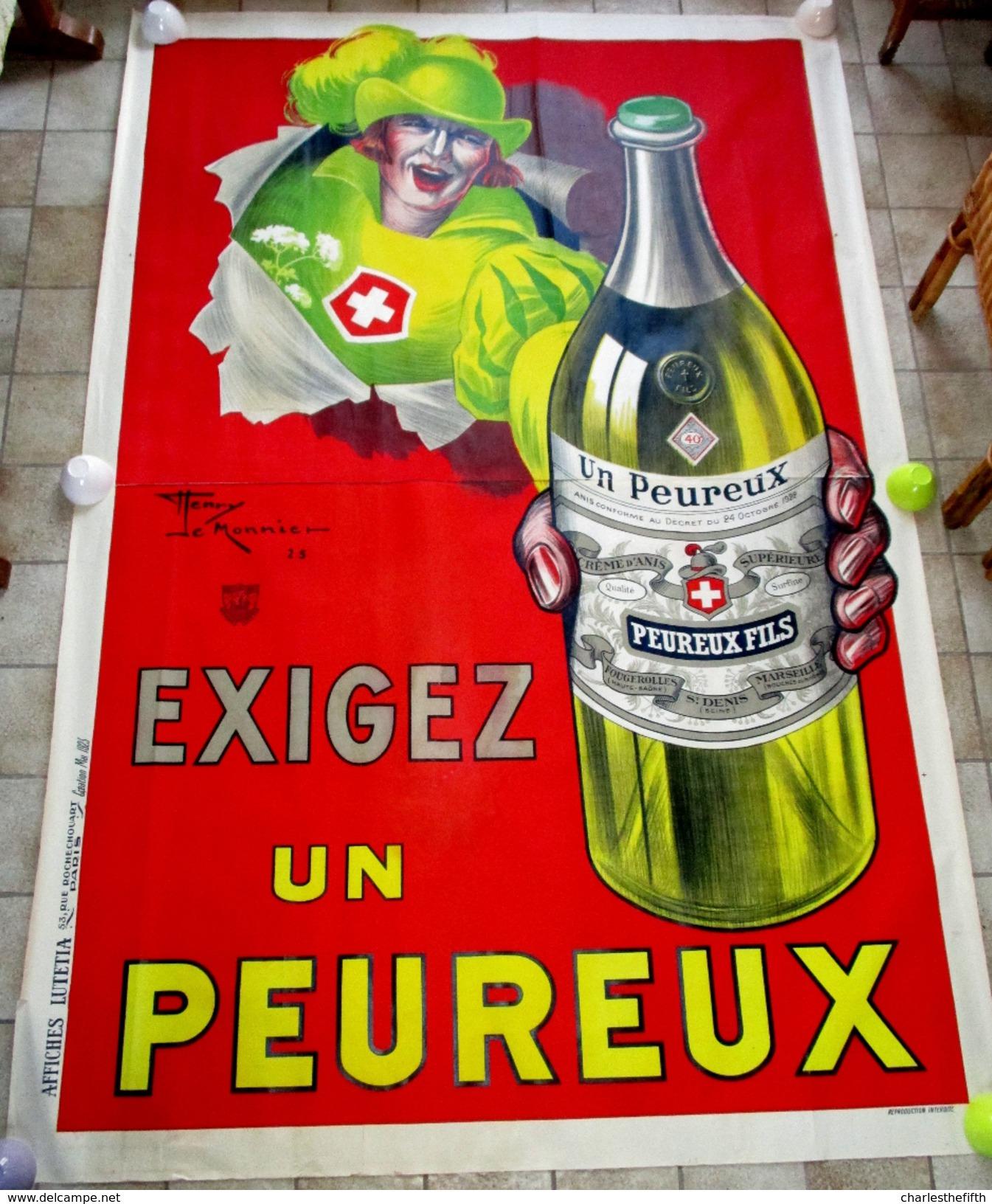 SUPERBE GRANDE AFFICHE ** EXIGEZ UN PEUREUX ** Par LE MONNIER - LARGE POSTER ( Fabr. Absinthe - Anis ) - 240 X 160cm ! - Affiches