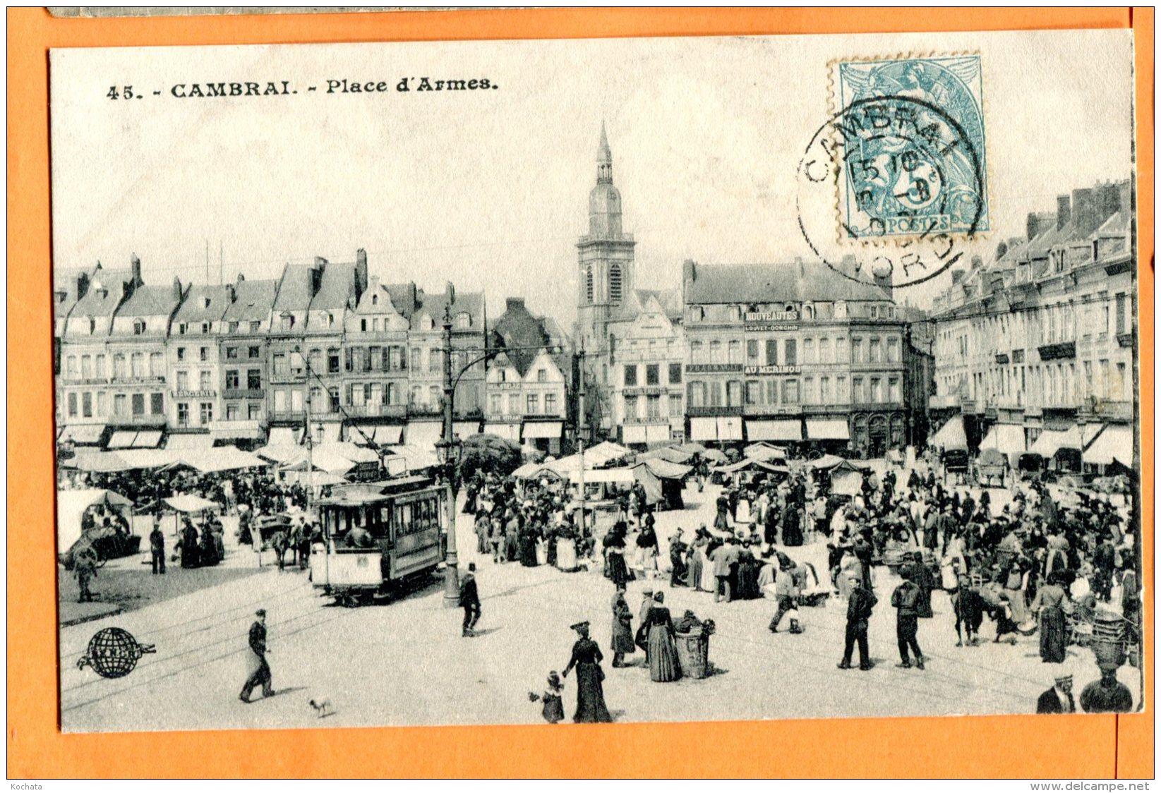 ALB069, Cambrai , Place D'Armes, Marché, Tramway, Au Mérinos, 45,  Animée, Circulée 1907 - Cambrai