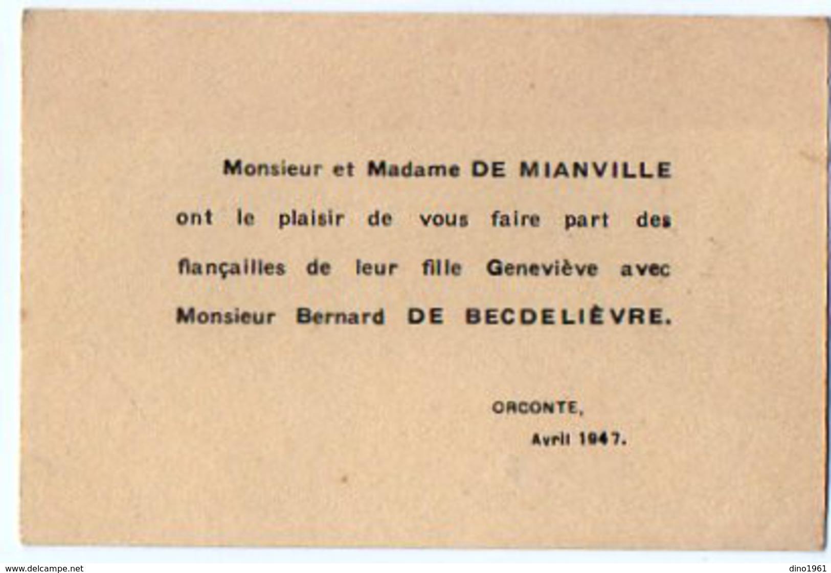 VP6557 - Faire Part De Fiançaille De Geneviève De MIANVILLE Avec Mr Bernard De BECDELIEVRE à ORCONTE - Fiançailles