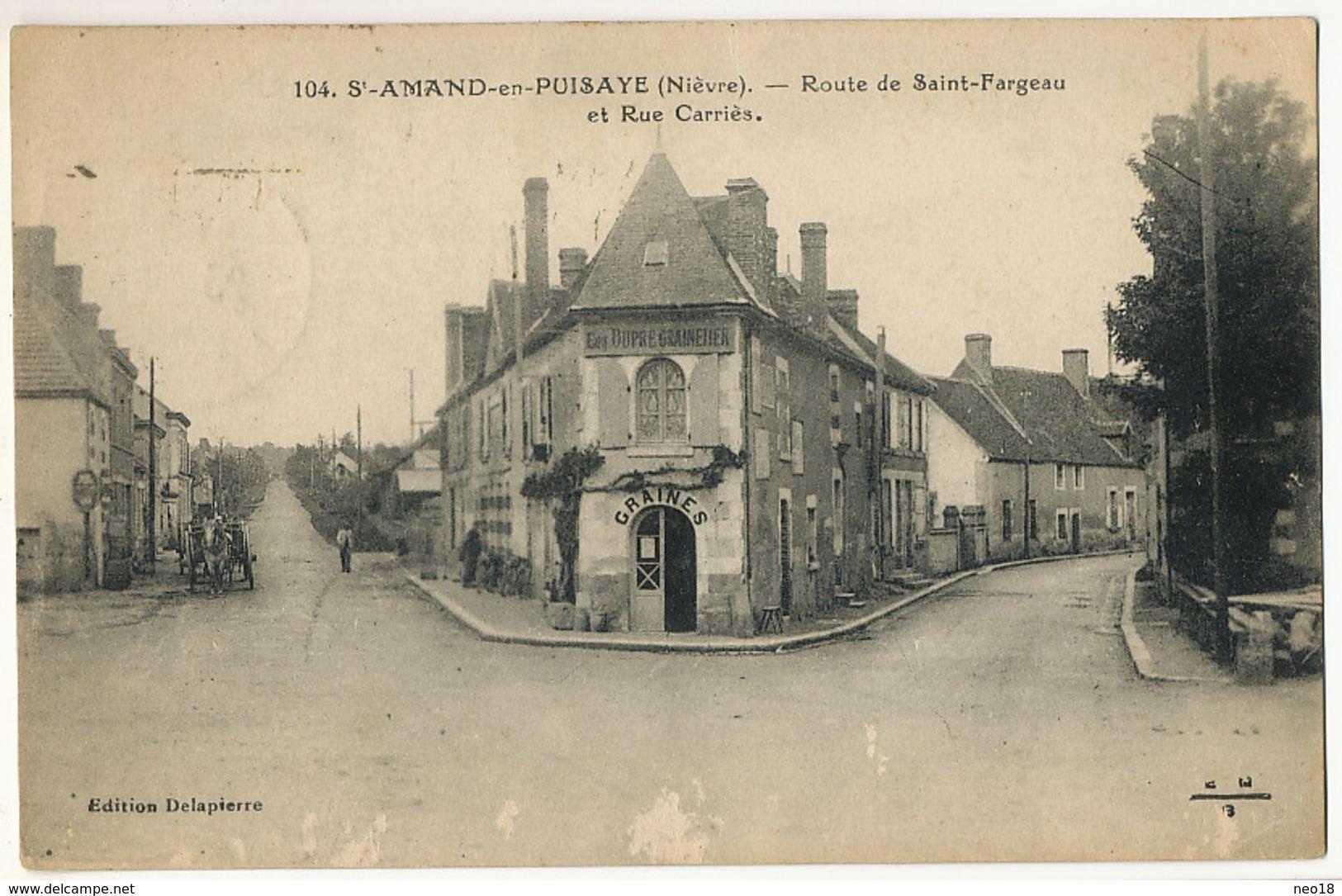 104 St Amand En Puisaye Route De St Fargeau Et Rue Carriès Edit Delapierre  Envoi Timbres Type Paix Vers Pologne - Saint-Amand-en-Puisaye