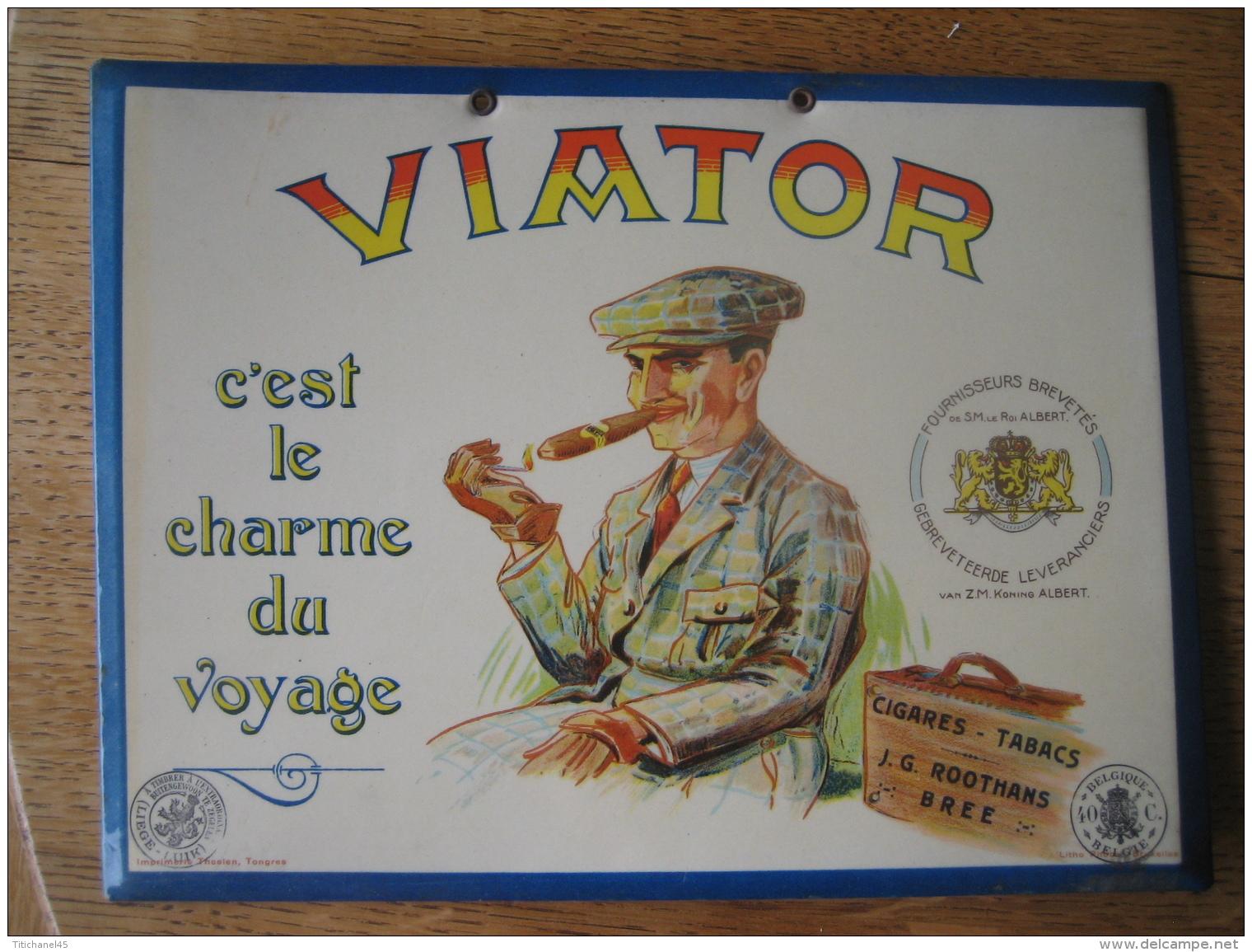 "Ancien Glaçoïde Publicitaire Original  - J.G ROOTHANS, BREE - Cigares, Tabacs ""VIATOR"" - Lithographie PHOBEL, BRUXELLES - Plaques En Carton"