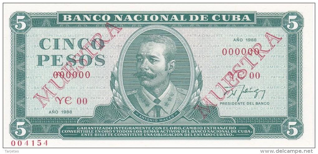 MUESTRA BILLETE DE CUBA DE 5 PESOS DEL AÑO 1988 DE ANTONIO MACEO (SPECIMEN) (BANKNOTE) SIN CIRCULAR-UNCIRCULATED - Cuba