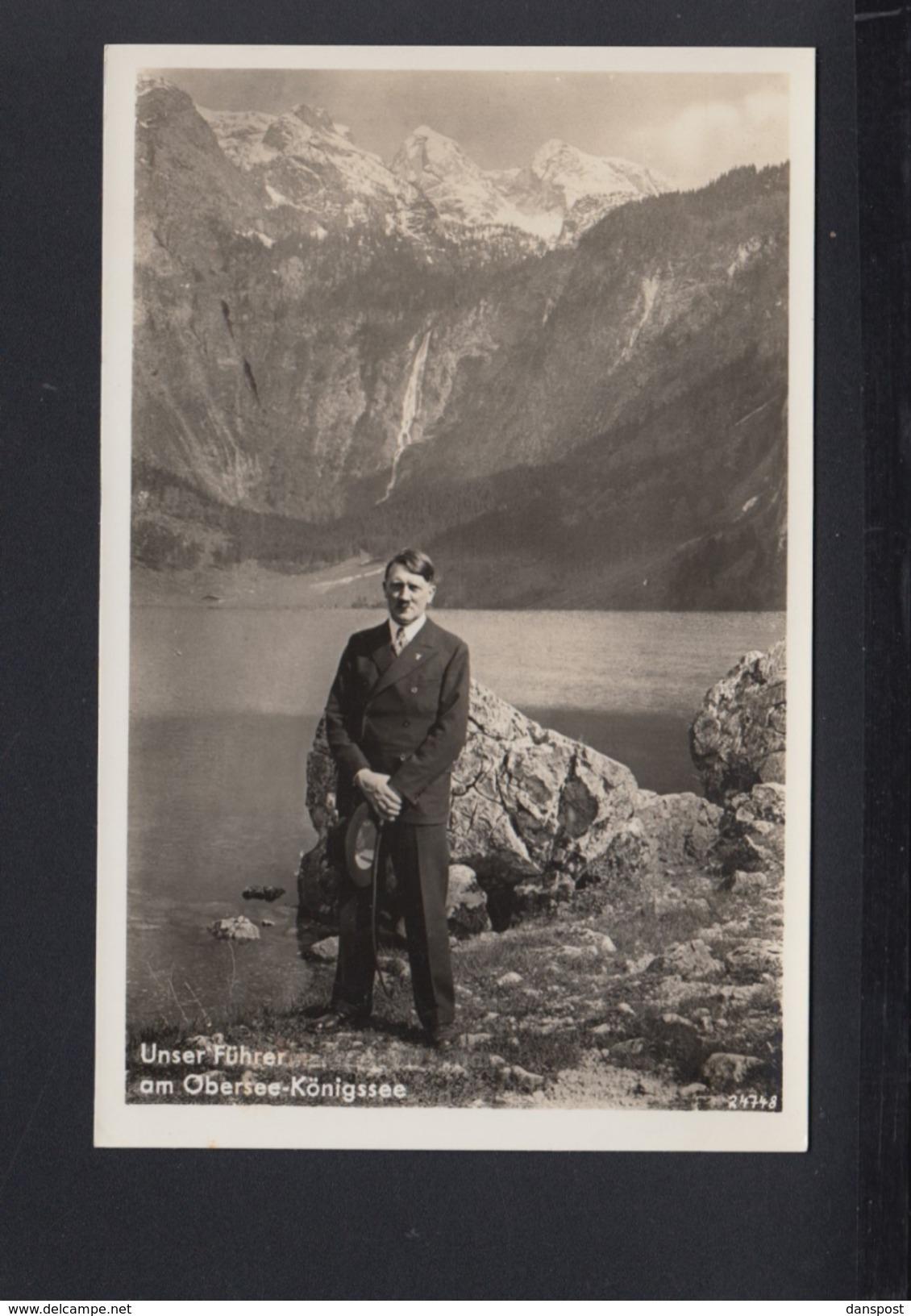 Dt. Reich AK Adolf Hitler Am Obersee Königssee - Personaggi Storici