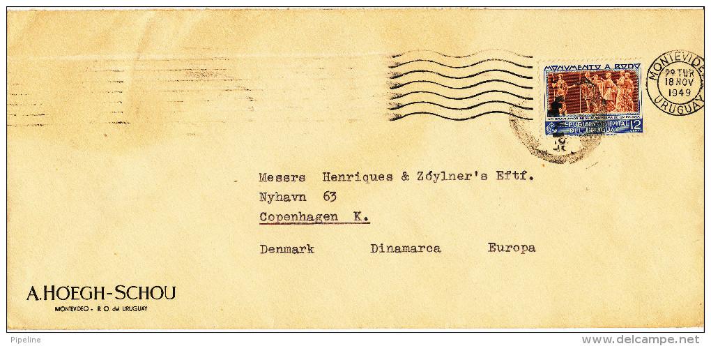 Uruguay Cover Sent To Denmark Montevideo 18-11-1949 Single Stamped - Uruguay