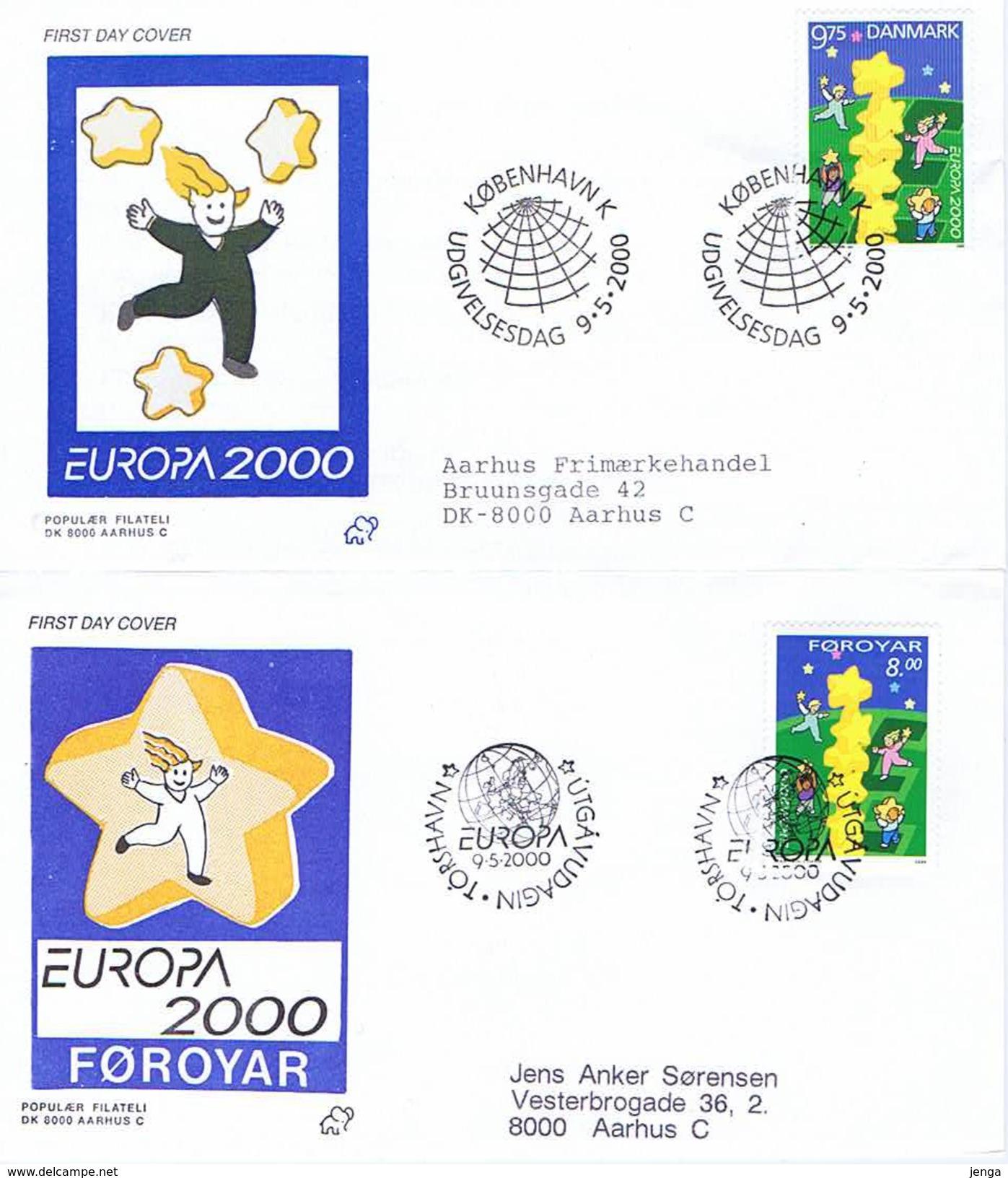 Denmark And Faroe Islands, 2000.  Europa - CEPT; 2 FDC. - Europa-CEPT