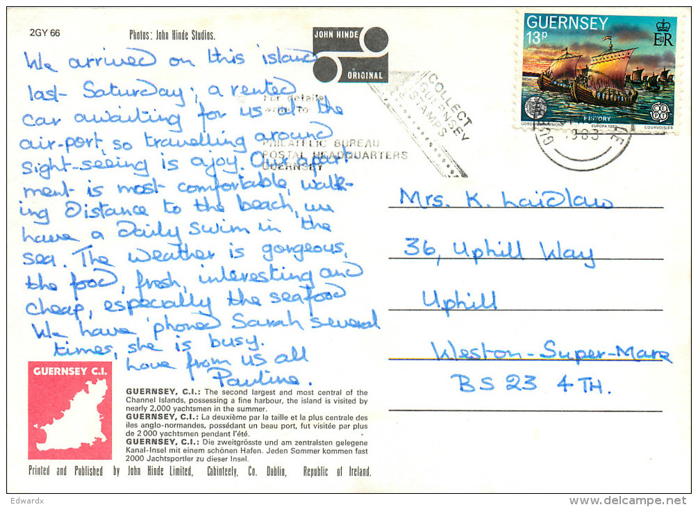 Multiview, Guernsey Postcard Posted 1983 Stamp - Guernsey