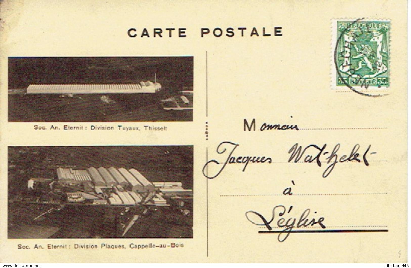 Carte Postale Publicitaire 1937 S.A. ETERNIT : Division Tuyaux à THISSELT Et Division Plaques à CAPELLE-AU-BOIS - Kapelle-op-den-Bos
