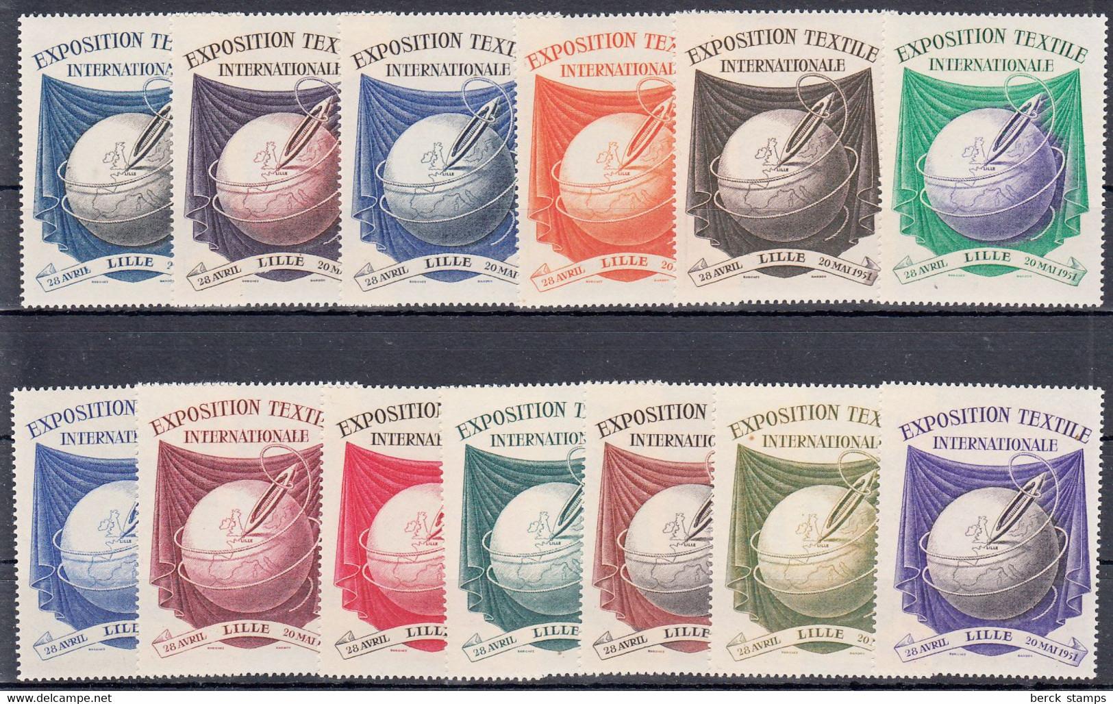 """Vignettes - Exposition Internationale Du Textile """"Lille 1951""""du 28 Avril Au 20 Mai - 13 Valeurs - Luxe - Cinderellas"""
