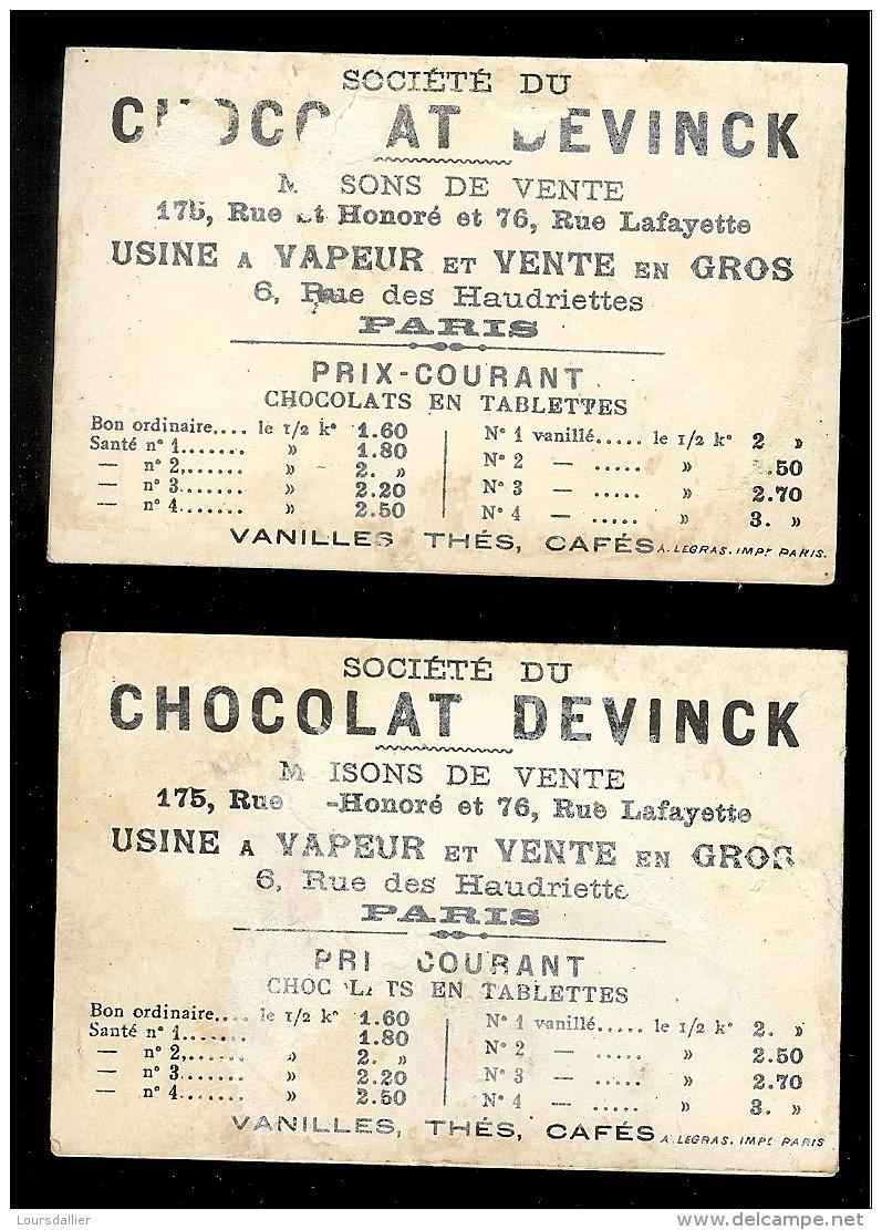 2 CHROMOS Chocolat DEVINCK PECHEUR Départ Pour La Pêche Et Une Bonne Place ! - Chocolat