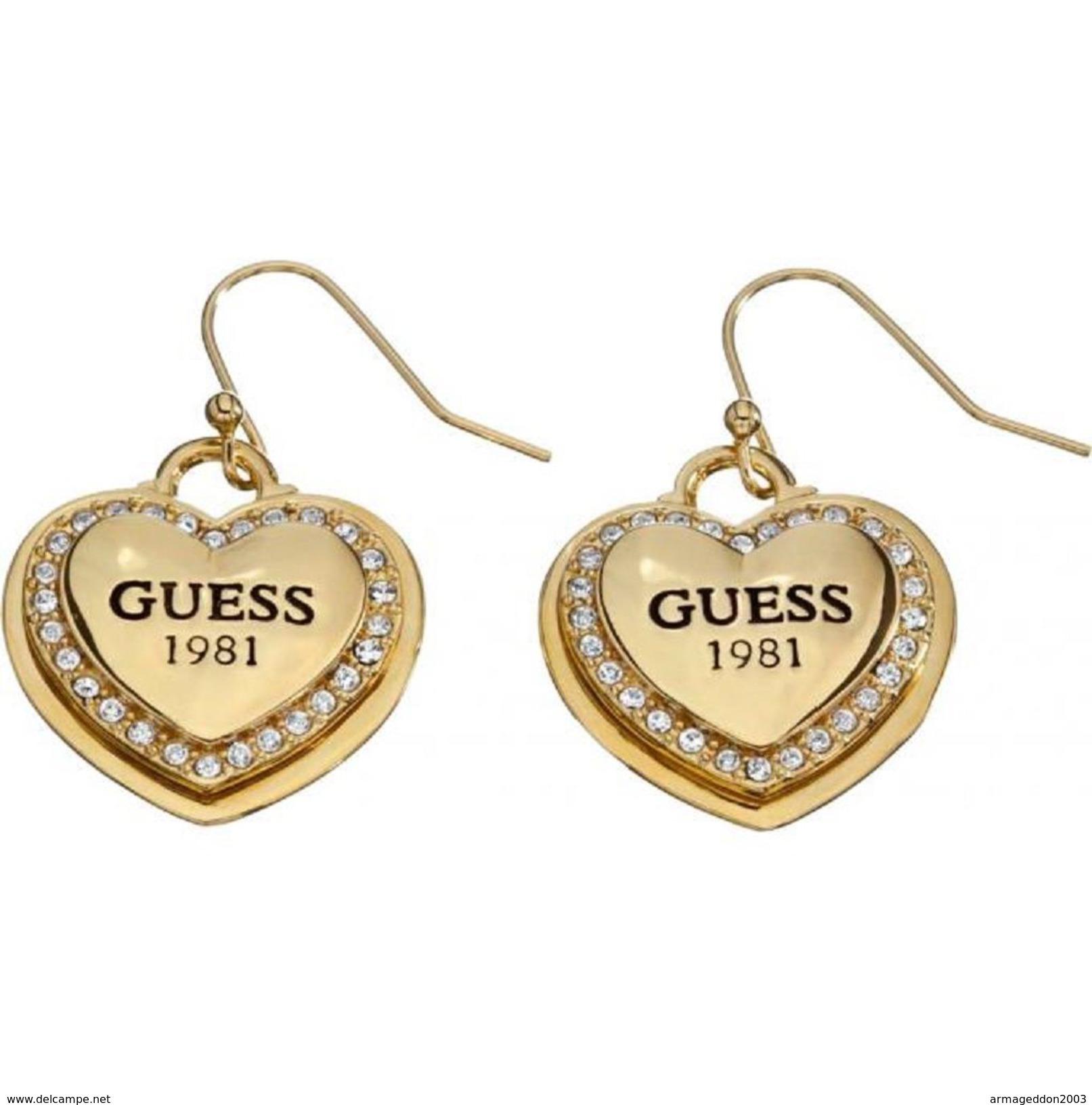 Véritable Guess Bijoux Boucles D'oreilles Métal Doré UBE11462 : NEUF + Pochette - Earrings