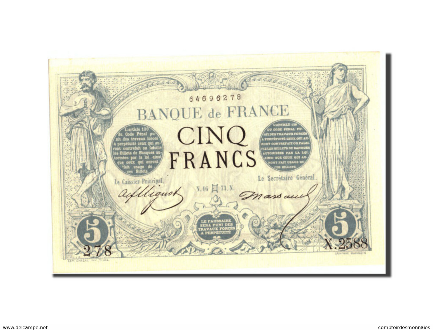 France, 5 Francs, 5 F 1871-1874 ''Noir'', 1873, 1873-05-16, KM:60, SUP+ - 1871-1952 Frühe Francs Des 20. Jh.
