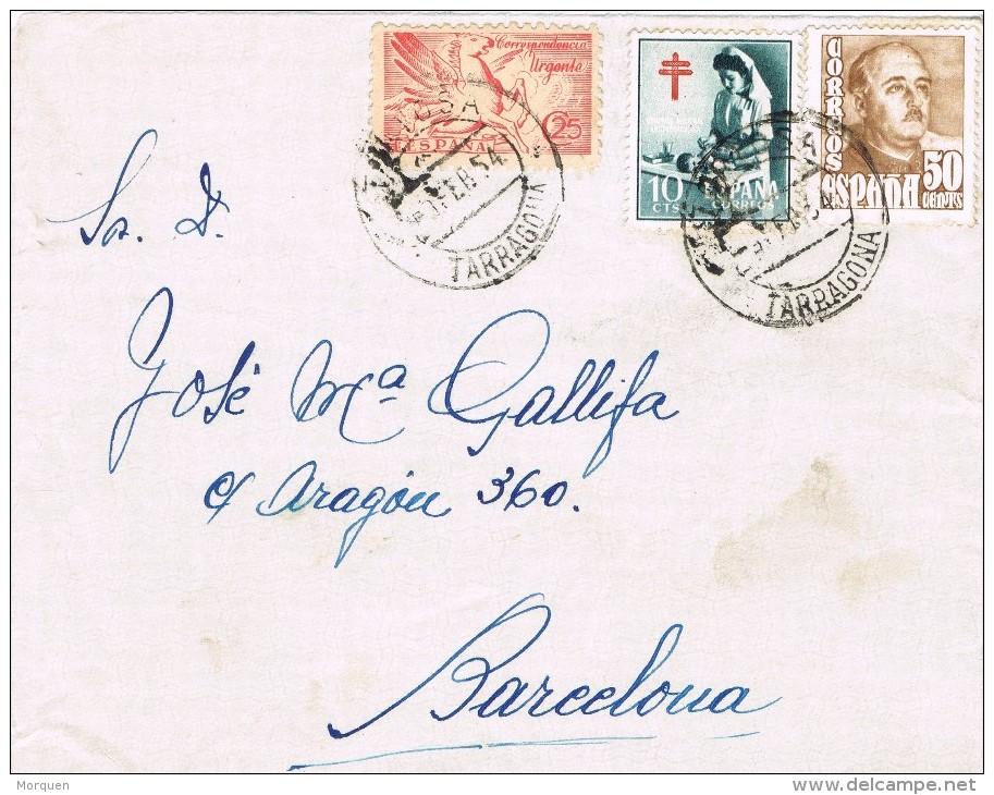 20386. Frontal URGENTE TORTOSA (Tarragona) 1954. Recargo Pro Tuberculosos - 1931-Hoy: 2ª República - ... Juan Carlos I