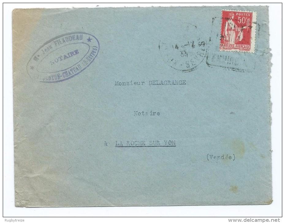 1701 - Lettre 1935 Filaudeau Notaire Argenton-Château Argenton 79 La Roche Sur Yon Daguin Type Paix Mauvais Centrage - 1921-1960: Modern Period