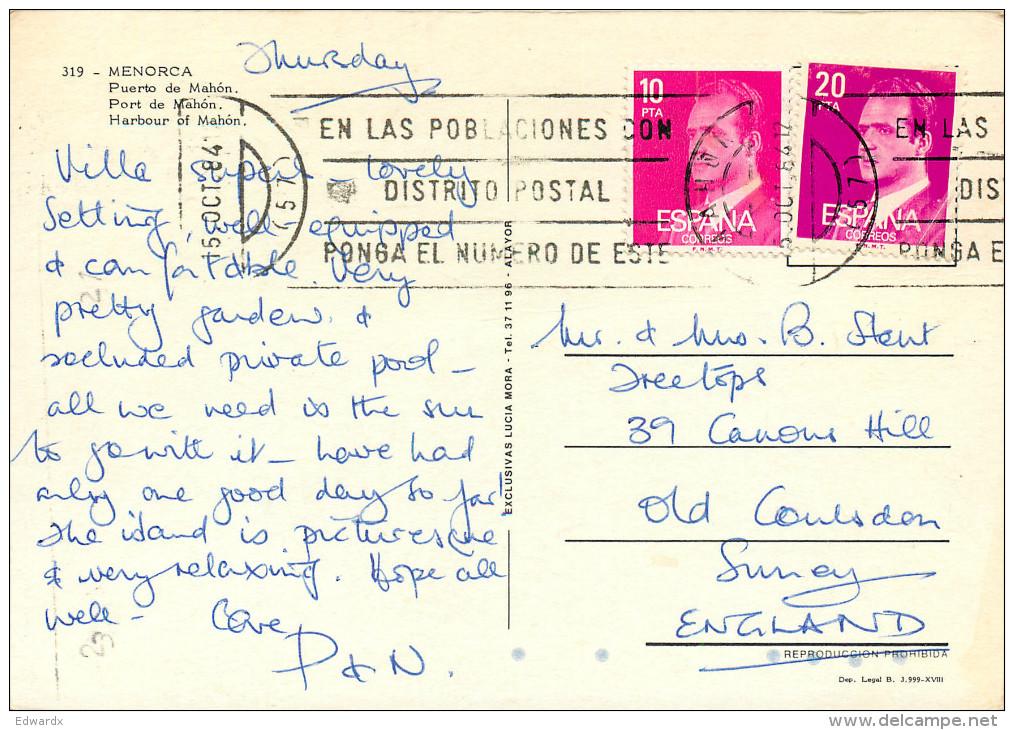 Mahon, Menorca, Spain Postcard Posted 1984 Stamp - Menorca