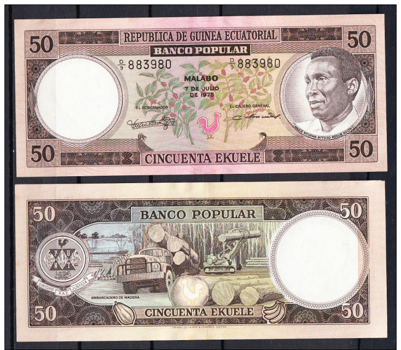 GUINEA ECUATORIAL 1975. 50 EKUELE MACIAS NGUEMA  Sin Circular Nuevo Uncirculated   .B141 - Guinée Equatoriale