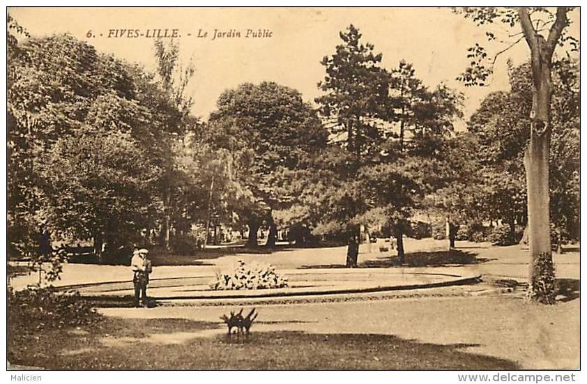 -ref-N783- Nord - Fives Lille - Jardin Public -  Carte Bon Etat - - France