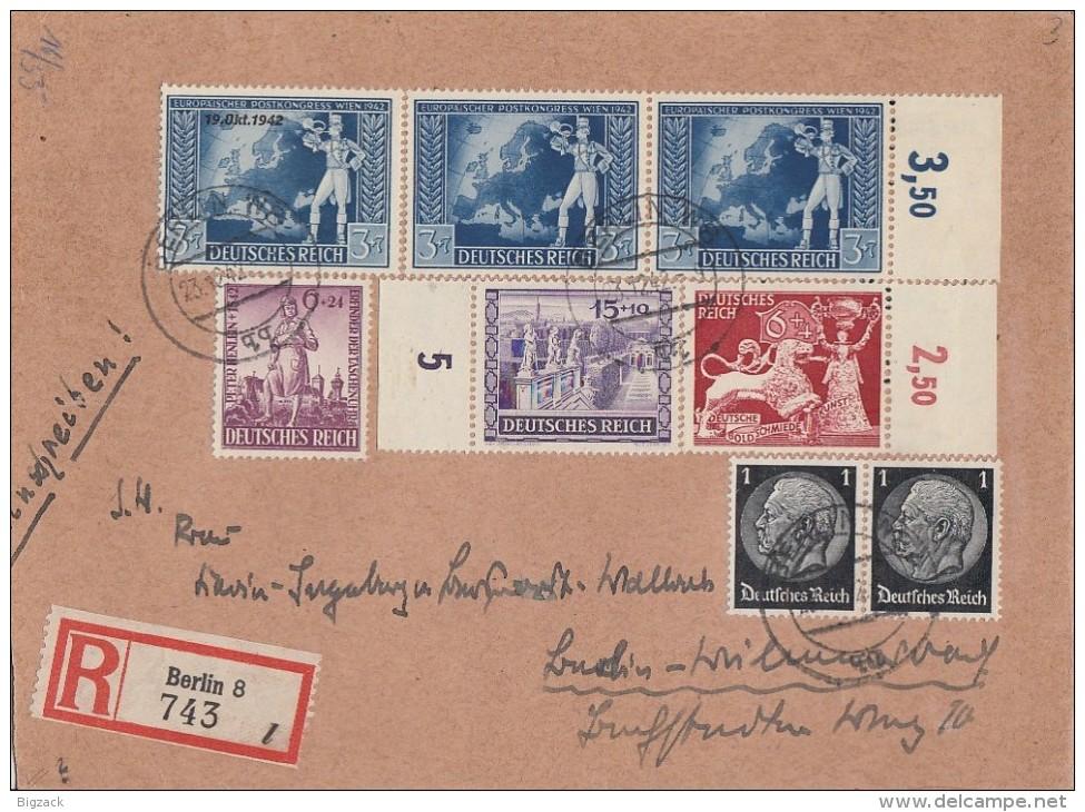 DR R-Brief Mif Minr.2x 512,805,816,819,2x 820,823 Berlin 23.12.42 - Deutschland