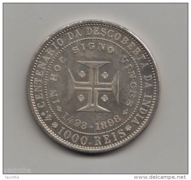 @Y@    1000 Rèis 1898 Discovery Of India IMPAIRED PROOFLIKE (RARE).  (4549) - Portugal