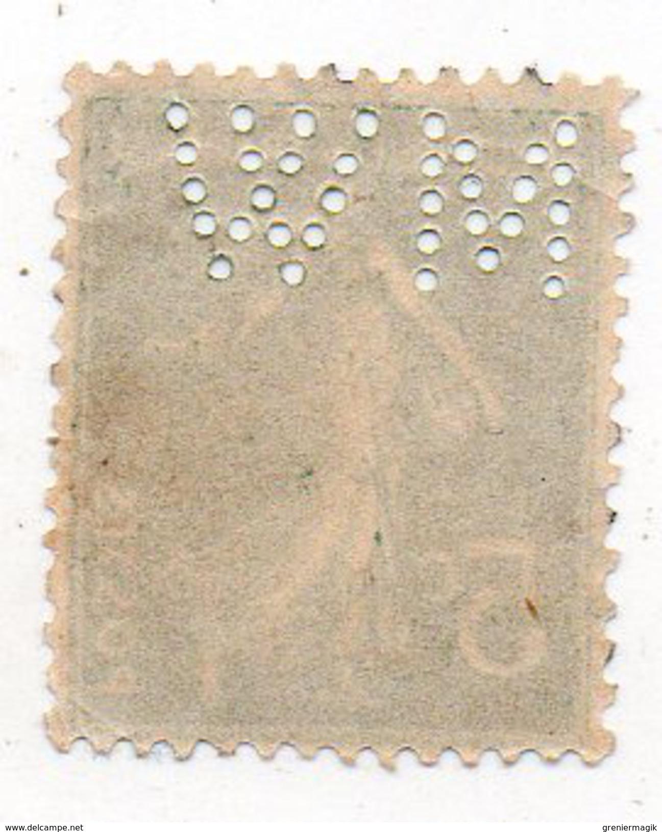 France N°137 5c Semeuse Perforé M W - (MW) Perfin - Francia