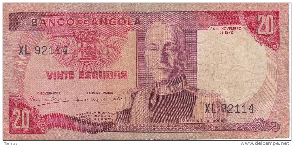 BILLETE DE ANGOLA DE 20 ESCUDOS DEL AÑO 1972 (BANKNOTE) - Angola