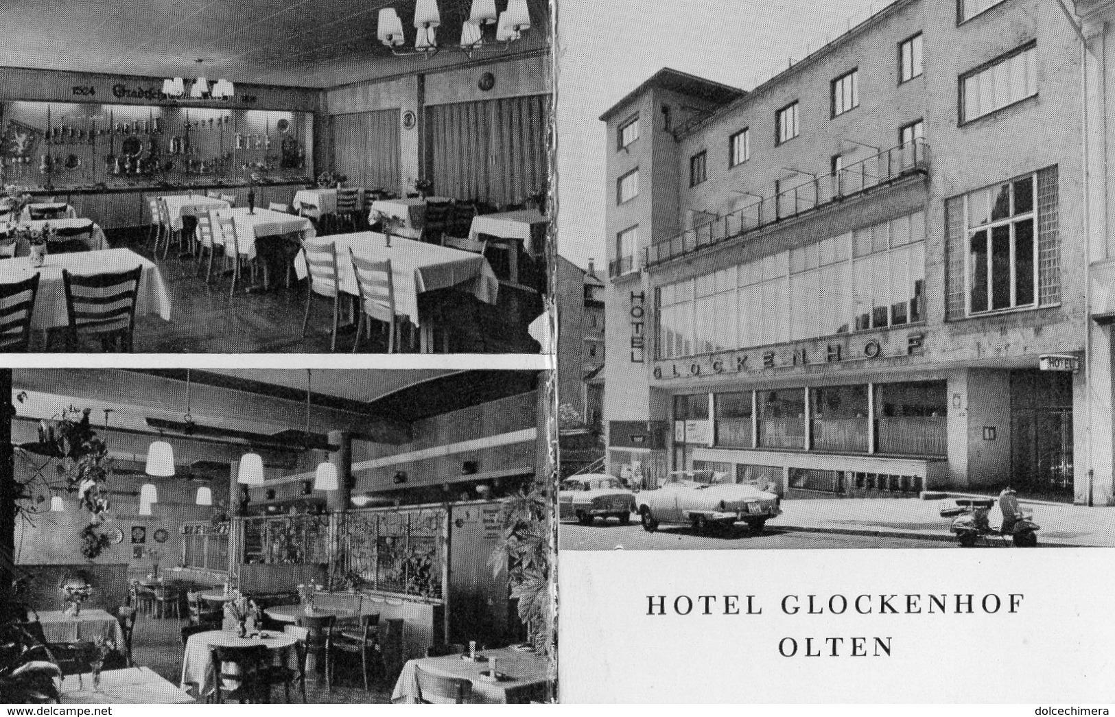 SVIZZERA-OLTEN-HOTEL GLOCKENHOF-CARTONCINO PUBBLICITARIO-ANNI 50-VESPA-AUTO D'EPOCA - Hotel Labels