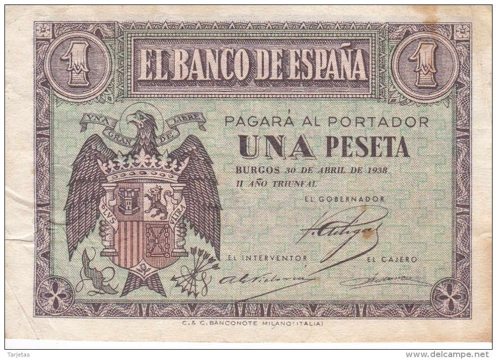 BILLETE DE BURGOS DE 1 PTA DEL 30 ABRIL 1938 SERIE E CALIDAD BC+  (BANKNOTE) - [ 3] 1936-1975 : Régence De Franco