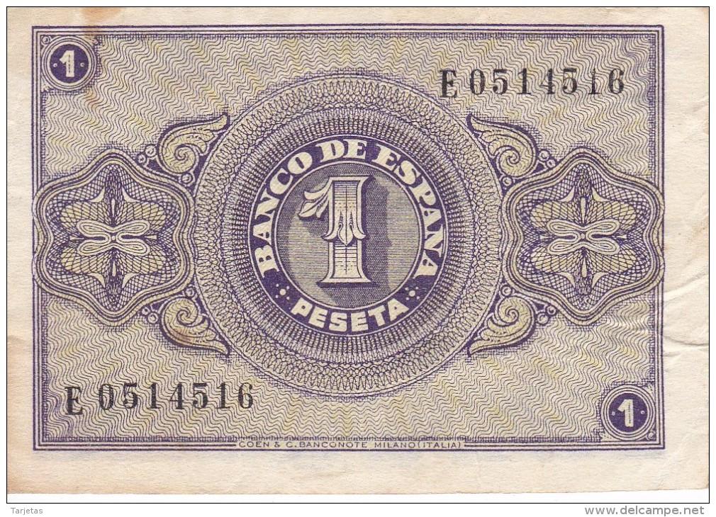 BILLETE DE BURGOS DE 1 PTA DEL 30 ABRIL 1938 SERIE E CALIDAD BC+  (BANKNOTE) - 1-2 Pesetas