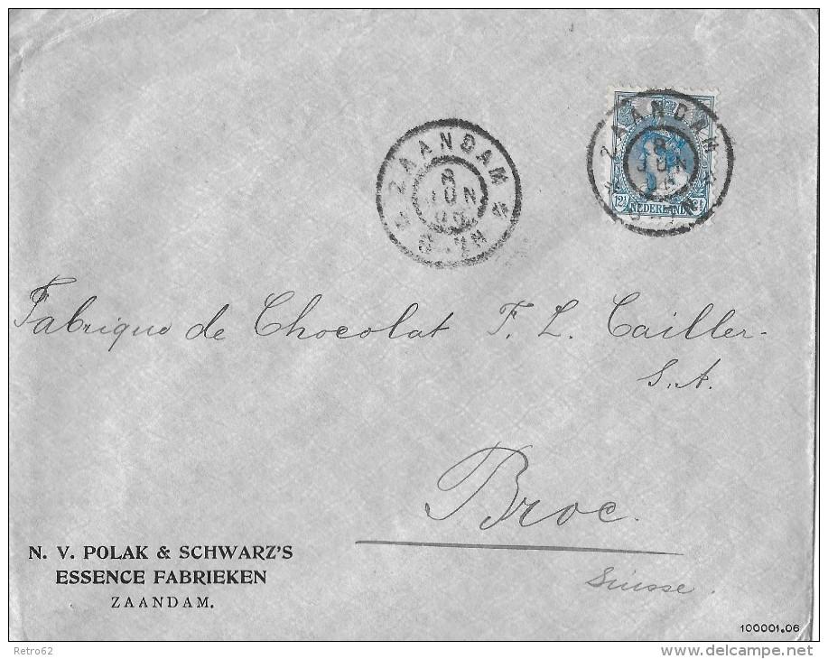 ZAANDAM - SUISSE/Broc → N.V.Polak & Schwarz's Essence Fabrieken Zaandam 08.06.1906 - Periode 1891-1948 (Wilhelmina)