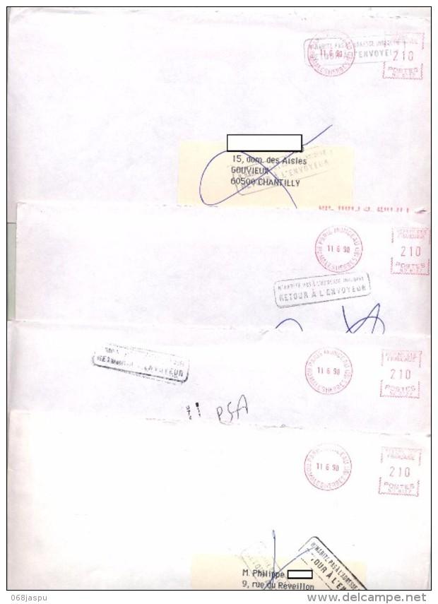 Lot 4 Lettre Cachet N´habite Pas Retour - Marcophilie (Lettres)