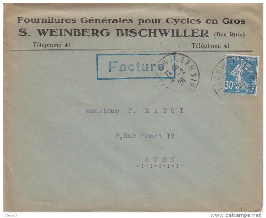 ESC 04-02-1926 Affr Semeuse 192-En Tête Fournitures Générales Pour Cycles WEINBERG à Bischwiller (Bas-Rhin) - France