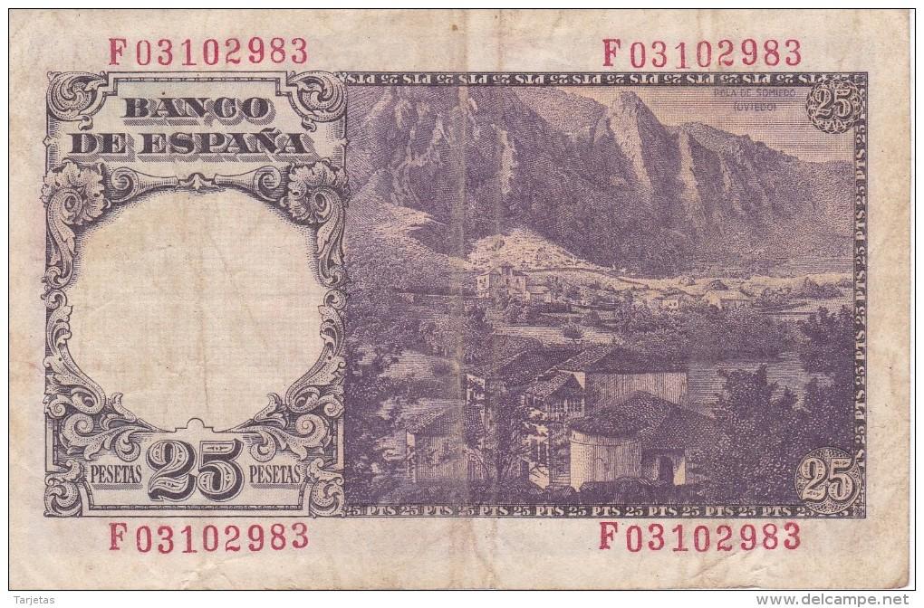 BILLETE DE ESPAÑA DE 25 PTAS DEL 19/02/1946 SERIE F  CALIDAD BC (BANKNOTE) - [ 3] 1936-1975 : Regime Di Franco
