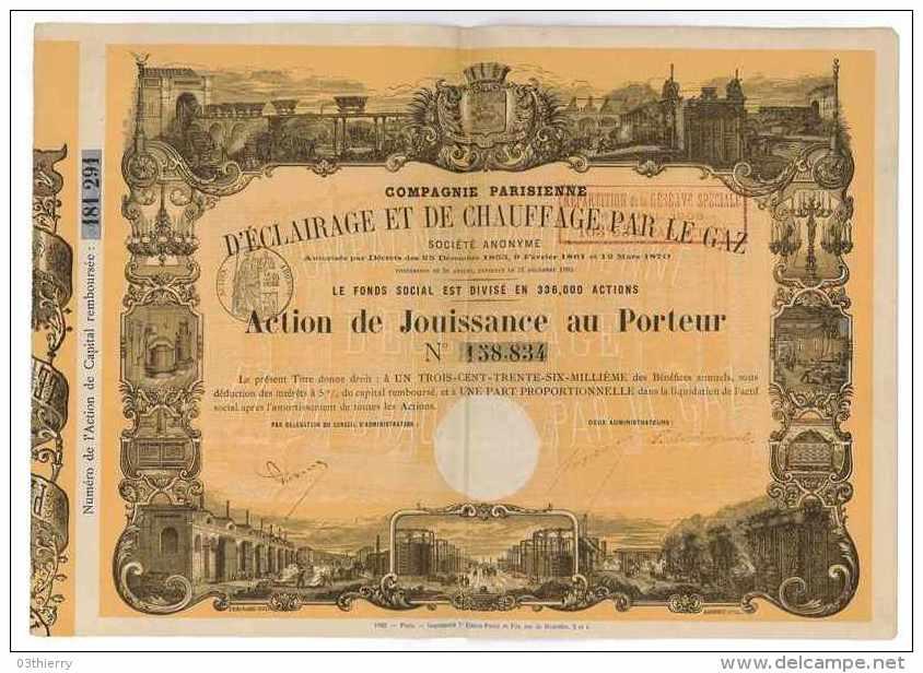 ACTION DE JOUISSANCE AU PORTEUR COMPAGNIE PARISIENNE D'ECLAIRAGE ET DE CHAUFFAGE PAR LE GAZ 1905 - Electricité & Gaz