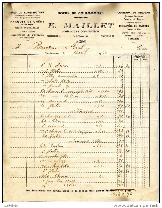 77 DOCKS De COULOMMIERS E.MAILLET Bois De Construction,Parquets Chêne Et Sapin,,,etc,,, - Autres