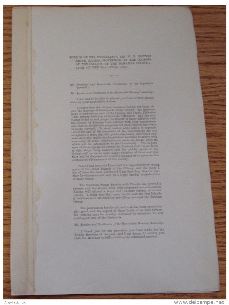 BAHAMAS 1896 APR SPEECH GIVEN BY SIR WF HAYNES SMITH GOVERNOR TO LEGISLATURE - Old Paper