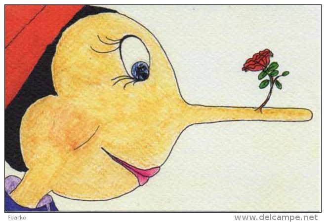 Mercatino Collezionisti Di Pinocchio Cartolina Ufficale Con Annullo Filatelico Posteitaliane 24/8/2016 Postmark - Märchen, Sagen & Legenden