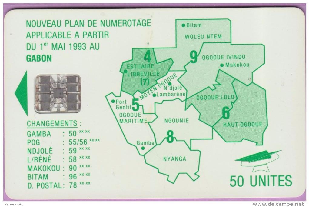 GABON °° 50 Unités . Plan Vert – N° 22b  Verso 1483  -  R / V     Usagée état Courant - Gabon