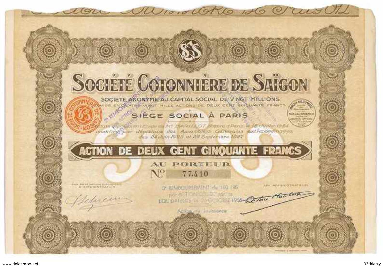 SOCIETE COTONNIERE DE SAIGON 1927 ACTION DE 250 FRANCS LIQUIDATION 1956 - Asie
