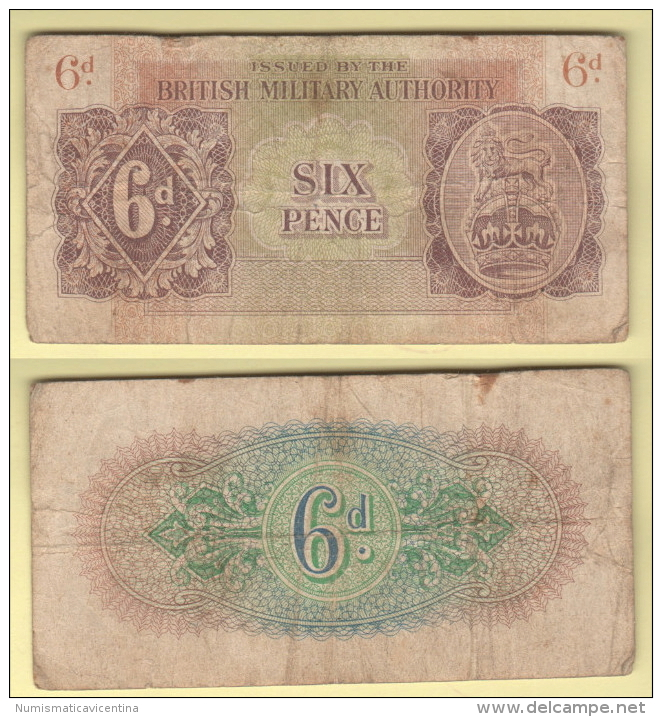 War Currency British Military Authority 6 Pence 1943 Occupazioni Militari Britanniche - British Military Authority