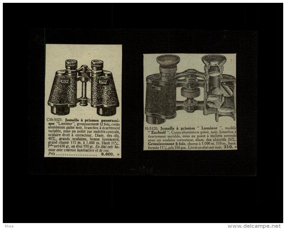 JUMELLES - Publicité Issue D'une Revue De 1949 Et Collée Sur Carton - Lunettes - Publicités