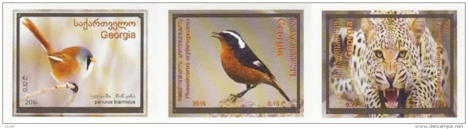 Georgia 2016, Fauna, Selfadshives, 3v - Georgien
