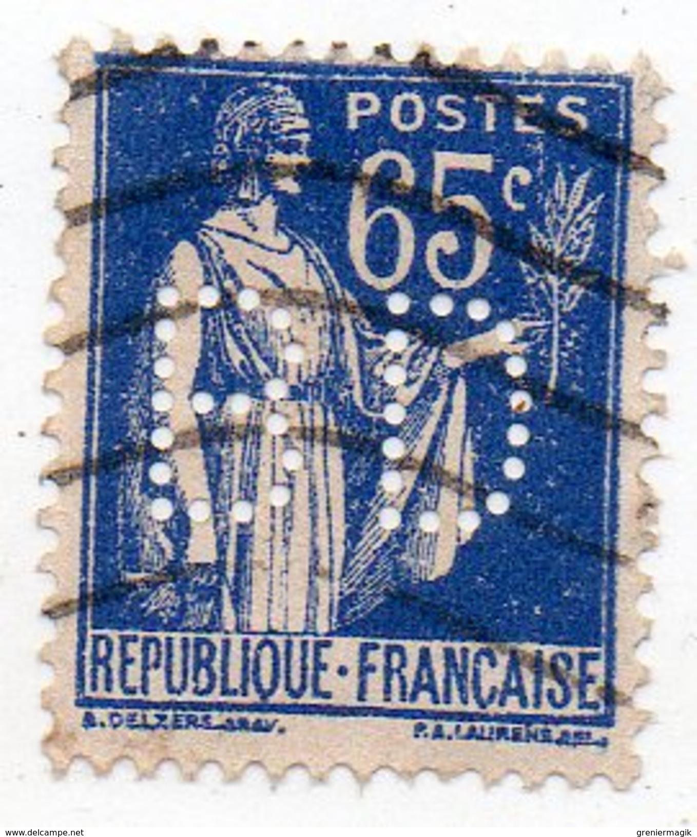 France - N°365 - 65c Type Paix Perforé B D - BD Perfin - Francia