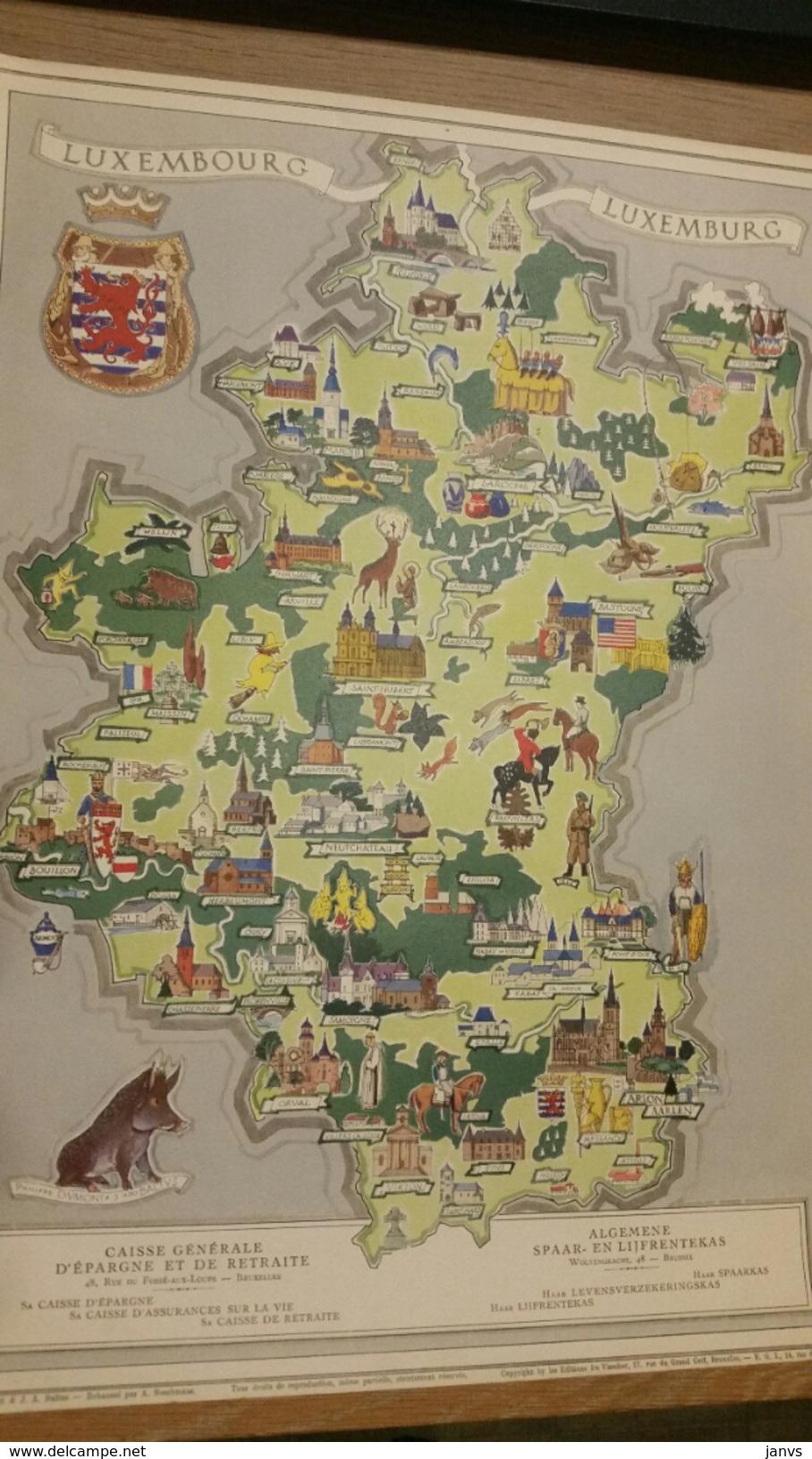 Kaart-Carte- Provincie Luxemburg- Province Luxembourg -Pub/Rec- ASLK-Caisse D'épargne- Bezienswaardigheden- Attractions - Cartes